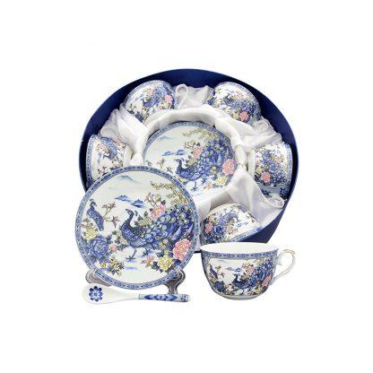 Купить Набор чайный Павлин на серебре 6/12пр 250мл фарфор в Санкт-Петербурге по недорогой цене и с быстрой доставкой.