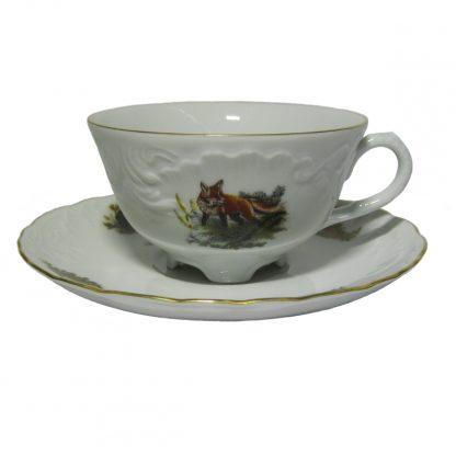 Купить Пара чайная Охота белая Рококо 220мл фарфор в Санкт-Петербурге по недорогой цене и с быстрой доставкой.