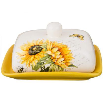 Купить Масленка Подсолнухи 17см керамика в Санкт-Петербурге по недорогой цене и с быстрой доставкой.