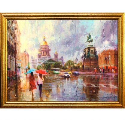 Купить Картина в раме Летний дождь в Питере 30х40см в Санкт-Петербурге по недорогой цене и с быстрой доставкой.