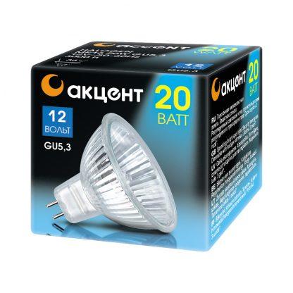 Купить Лампа галогенная АКЦЕНТ MR16 12V 20W 36° GU5.3 в Санкт-Петербурге по недорогой цене и с быстрой доставкой.