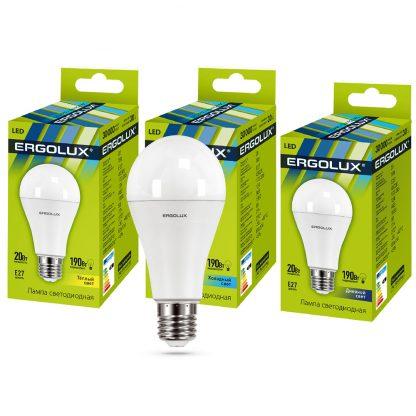 Купить Лампа светодиодная Ergolux LED-A65-20W-E27-4K ЛОН 20Вт E27 4500K 172-265В в Санкт-Петербурге по недорогой цене и с быстрой доставкой.