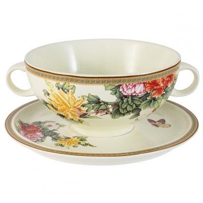 Купить Чашка суповая на блюдце Японский сад 500мл керамика в Санкт-Петербурге по недорогой цене и с быстрой доставкой.