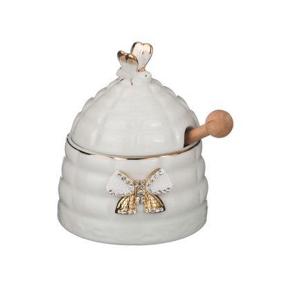 Купить Баночка для мёда+палочка деревянная Пчелка 12см фарфор в Санкт-Петербурге по недорогой цене и с быстрой доставкой.