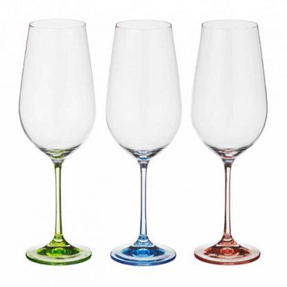 Купить Набор бокалов  д/вина Виола 6шт 250мл цветные ножки стекло в Санкт-Петербурге по недорогой цене и с быстрой доставкой.