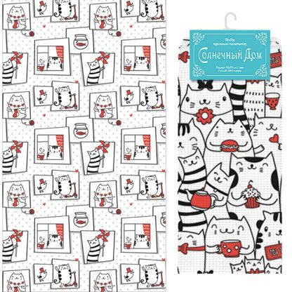 Купить Набор для кухни Коты: полотенце 40х70см