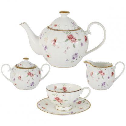 Купить Сервиз чайный Флёр 6/15пр костяной фарфор ( чайник 12л сахарница 04л молочник 036л+6чп 210мл) в Санкт-Петербурге по недорогой цене и с быстрой доставкой.