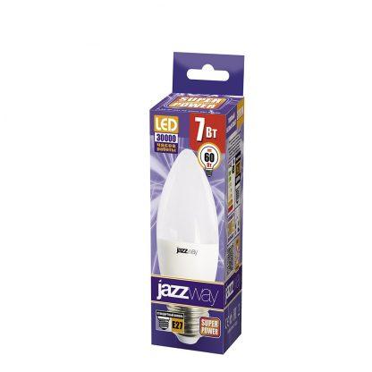 Купить Лампа светодиодная PLED C37  7w 3000K E27  530Lm Jazzway в Санкт-Петербурге по недорогой цене и с быстрой доставкой.