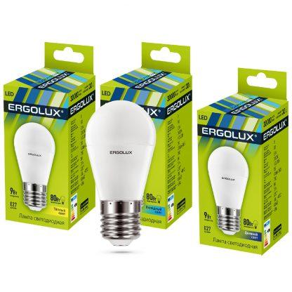 Купить Лампа светодиодная Ergolux LED-G45-9W-E27-4K Шар 9Вт E27 4500K 172-265В в Санкт-Петербурге по недорогой цене и с быстрой доставкой.