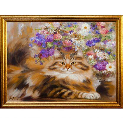 Купить Картина в раме Кот и полевые цветы 30х40см в Санкт-Петербурге по недорогой цене и с быстрой доставкой.