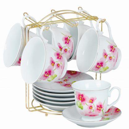 Купить Набор чайный Розовые цветы 6/13пр 220мл фарфор на мед.подставке в Санкт-Петербурге по недорогой цене и с быстрой доставкой.