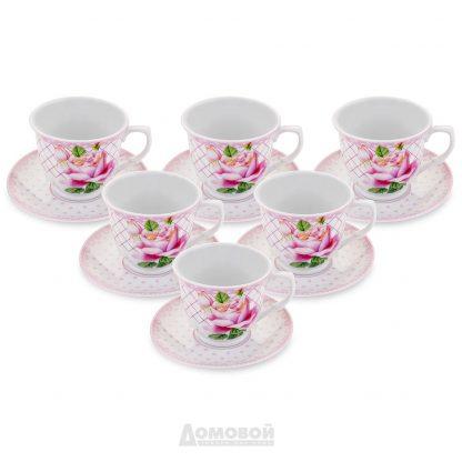 Купить Набор чайный Home Cafe Розовая роза 6/12пр 220мл твердый фарфор в Санкт-Петербурге по недорогой цене и с быстрой доставкой.