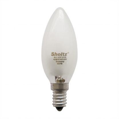 Купить Лампа галогенная SHOLTZ E14 42W 2700К 220V свеча в Санкт-Петербурге по недорогой цене и с быстрой доставкой.