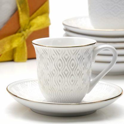 Купить Набор чайный Белый ромб 4/8пр 240мл костяной фарфор в Санкт-Петербурге по недорогой цене и с быстрой доставкой.