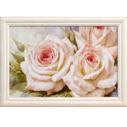 Купить Картина в раме Бело-розовые розы II 30х20см в Санкт-Петербурге по недорогой цене и с быстрой доставкой.