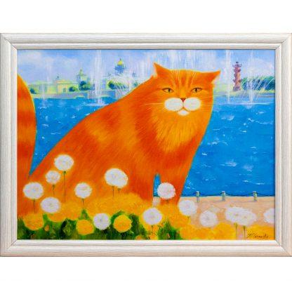Купить Картина в раме Рыжик и одуванчики 30х40см в Санкт-Петербурге по недорогой цене и с быстрой доставкой.